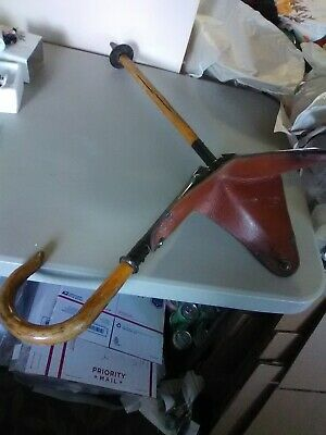Antique Wood and Leather Folding Golf Chair and Walking Cane
