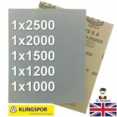 WET AND DRY SANDPAPER KLINGSPOR Assorted Grit 1000 1200 1500 2000 2500 PACK OF 5