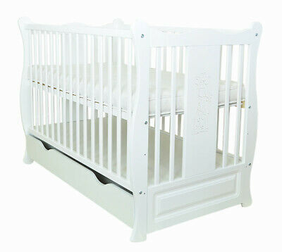 "Baby Cot With Drawer/Junior Bed ""Sofia Ii"" White + Mattress To Choose"