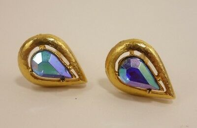 Mens Vintage Jewelry Irridescent Tear Drop Goldtone Cufflinks