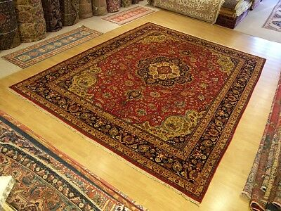 9.8 x 13 Handmade High Quality SIGNED Antique Persian Tabrizz Rug_Fine Soft Wool