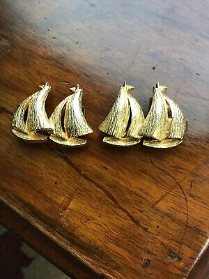 "Vintage 1975 Mimi Di N Sailboat Gold Tone Belt Buckles 1-1/2""l"