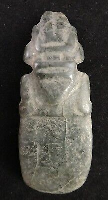 "Pre-Columbian Costa Rican carved Jade Axe God Pendant, 3""x 1 1/8"". 300-900 AD"