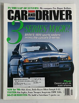 APRIL 1998 CAR and Driver 99 BMW 3 Series Rolls-Royce BMW 540i