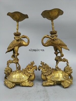 Pair 18'' Brass carved Lotus Bird Crane Dragon Turtle candle candlestick statue