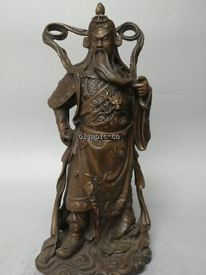 16'' red bronze carved dragon figure chinese folk war god Guan Gong statue
