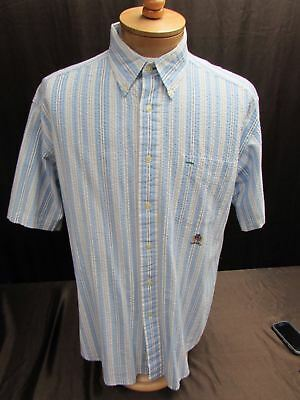 cb767f82 Tommy Hilfiger men's sz L shirt short sleeve cotton blue striped SS button  front