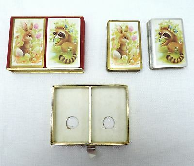 Vintage CONGRESS PLAYING CARDS 2 decks Cell-U-Tone Finish raccoon and rabbit