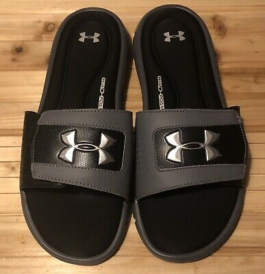 60195f3602d Under Armour Men s Ignite V Slide Sandals Black Gray Size 11 Adjustable  Slides
