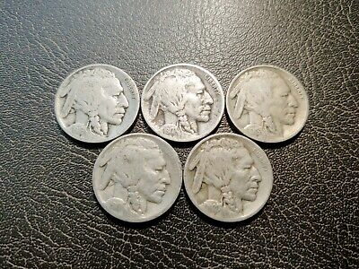Nice Lot of Five (5) Early-date Buffalo Nickels (1916-P, 17-P, 18-P, 19-P, 20-P)