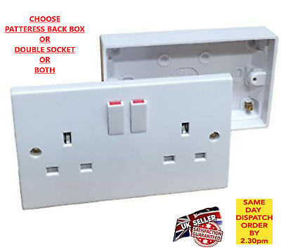 Double Wall Socket Back Box Pattress 2 Gang Twin Switched Plug Electrical New