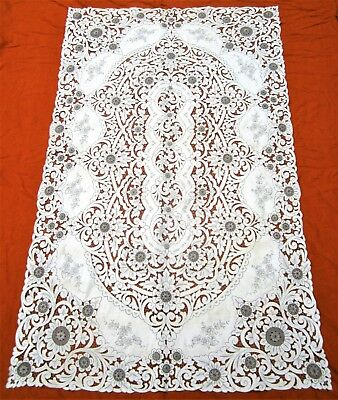 Vintage  Madeira  linen cutwork embroidered tablecloth