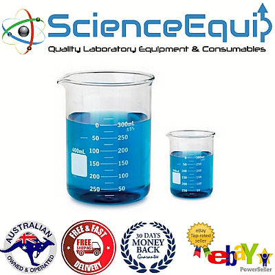 Glass BEAKER Graduated Low Form Research Grade Borosilicate, 6 sizes -10 pcs/SET