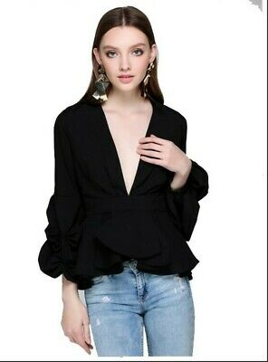 Women's Sexy Pure Color Long Sleeves Casual Street Blouse Fashion New Tops Girls