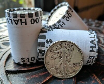Unsearched Half Dollar Coin Roll (1) - Silver Walking Liberty Coin (1) - Usa Lot