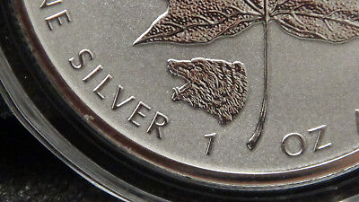 2016 Wild Canada Series Maple Leaf Grizzly Bear Privy Silver Reverse Proof Coin