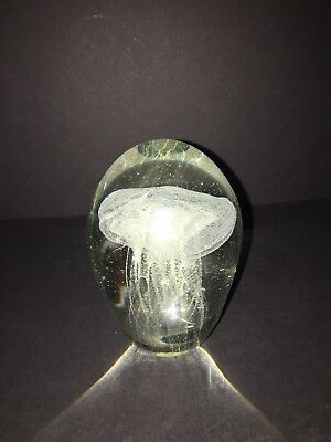 Vintage Art Glass Paperweight Decortive Jelly Fish Control Bubble