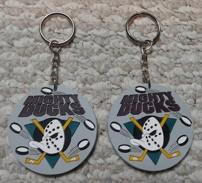 2 Vintage Anaheim Mighty Ducks NHL hockey rubber Keychain Keyring NOS
