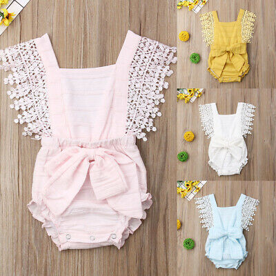 UK Summer Newborn Toddler Baby Girls Clothes Bow Romper Bodysuit Sunsuit Outfit