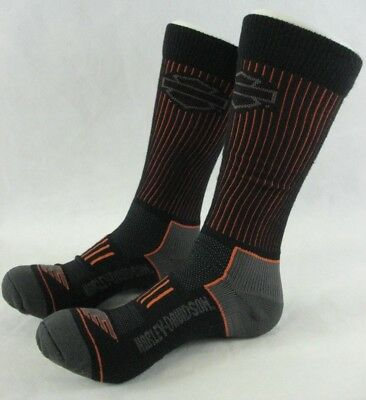 Harley Davidson Motorcycles All Weather Sock Mens Size Large 9-13 Black 2 Pair