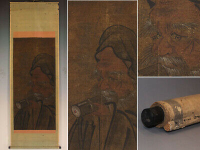 JAPANESE PAINTING HANGING SCROLL JAPAN Picture Longevity ANTIQUE VINTAGE 652i