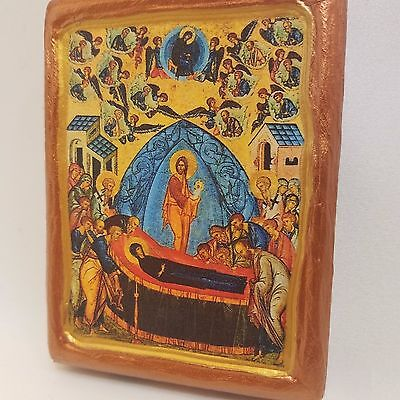 Dormition of The Mother of God Rare Eastern and Greek Byzantine Icon  Art