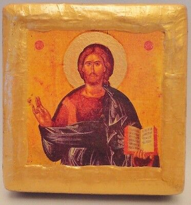 Jesus Christ Byzantine Rare Greek Orthodox Wooden Plaque Christian Icon OOAK