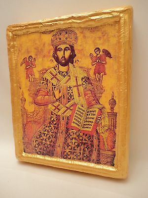 Jesus Christ on The Throne Russian Eastern Orthodox Icon Religious Art on Wood