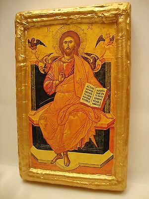 Jesus Christ on The Throne Rare Greek Eastern Orthodox Byzantine Icon on Wood
