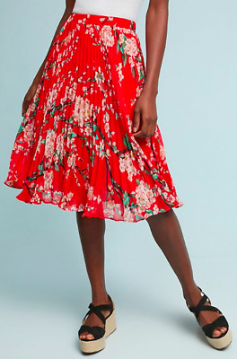 649ef0c1d8 NWT $98 Anthropologie Kita Pleated Floral Skirt Red by Sunday in Brooklyn  Size M