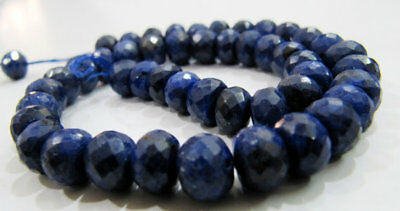 "Corundum Dyed BLUE SAPPHIRE Faceted Rondelles Loose Beads 6-10mm 16"" strand"