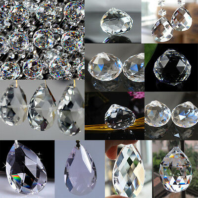 1/5/10/50Pcs Clear Crystal Glass Pendant Beads Chandelier Prism Hanging Drop