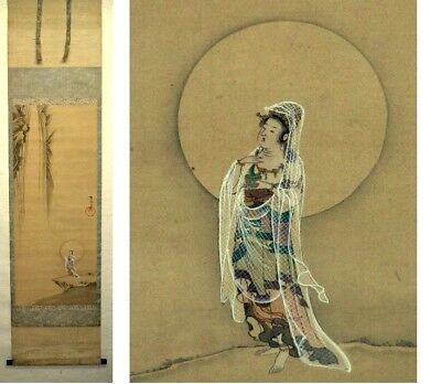 JAPANESE PAINTING HANGING SCROLL JAPAN Buddhism BEAUTY ANTIQUE VINTAGE ART 334i