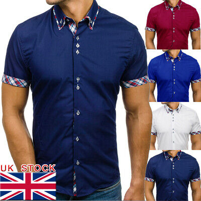 UK STOCK Mens Summer Short Sleeve Shirts Casual Cotton Formal Slim Fit Shirt