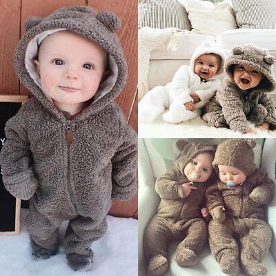 UK Newborn Baby Girl Boy 3D Ears Hooded Romper Bodysuit Jumpsuit Outfits Clothes
