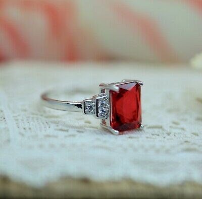 Vintage Jewellery Gold Ring Ruby White Sapphires Dress Antique Jewelry Size P