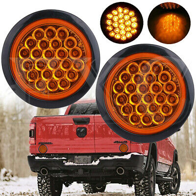 2X 4 Inch Round 24-LED Truck Trailer Tail Light Reverse Backup Lamp Clear Amber