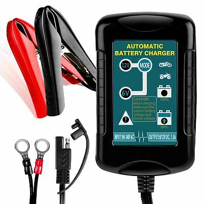 6V 12V 1.5A Trickle Battery Charger Battery Maintainer For Boat Motorcycle Car