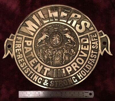 Genuine Antique/Vintage Heavy Cast Brass Milners Safe Plaque/Plate/Badge/Sign