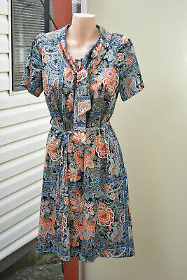 Vintage Paisley Style Dress with Pussybow - size 16