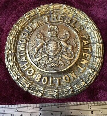 Genuine Antique/vintage Cast Brass Chatwood Safe Plaque/Plate/Badge/Escutcheon