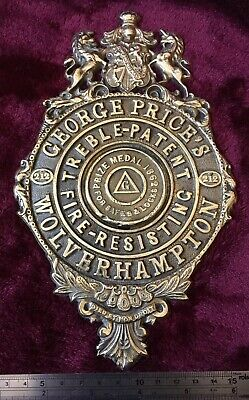 Genuine Antique/Vintage Cast Brass George Price Safe Plaque/Plate/Badge/sign.