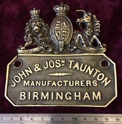 Genuine Antique/Vintage Cast Brass John Josh Taunton Safe Plaque/Plate/Badge