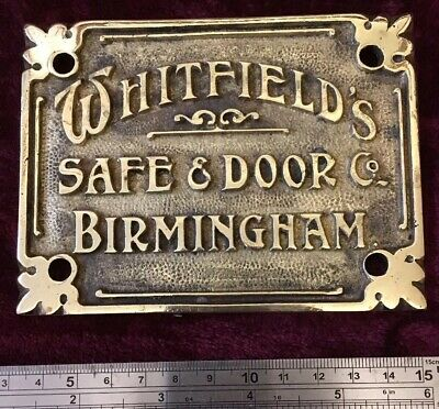 Genuine Antique/Vintage Whitfield Cast Brass Safe Plaque/Plate/Badge/Sign