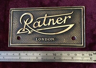 Genuine Antique/Vintage Ratner London Cast Brass Safe Plaque/Plate/Badge