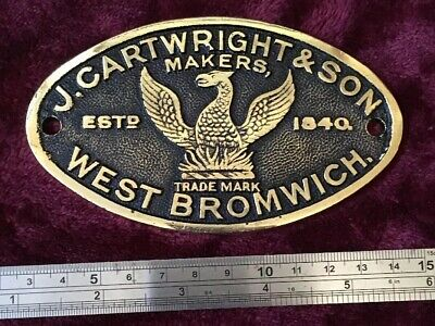 Genuine Antique/Vintage J Cartwright Heavy Cast Brass Safe Plaque/Plate/Badge