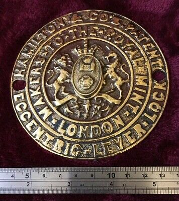 Genuine Antique Cast Brass Hamiltons & Co Safe Plaque/Plate/Badge/Escutcheon