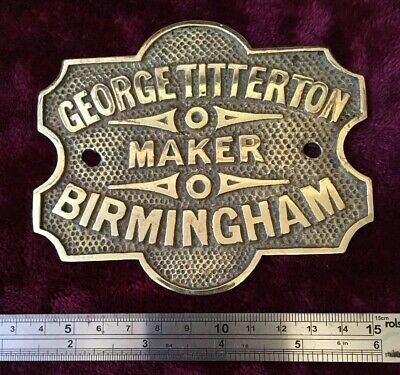 Genuine Antique Cast Brass George Titterton Safe Plaque/Plate/badge/sign