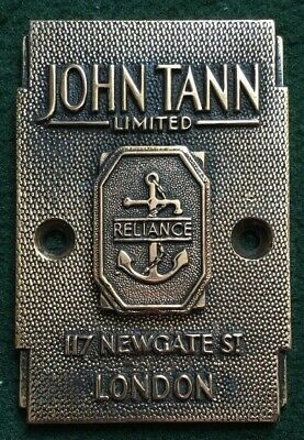 Genuinely Rare John Tann Cast Bronze Antique/vintage Safe Plaque/plate/badge