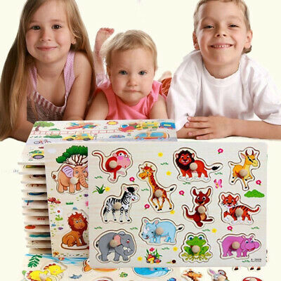 Cartoon Animal Wooden Puzzle Jigsaw Kids Early Learning Baby Educational Toy